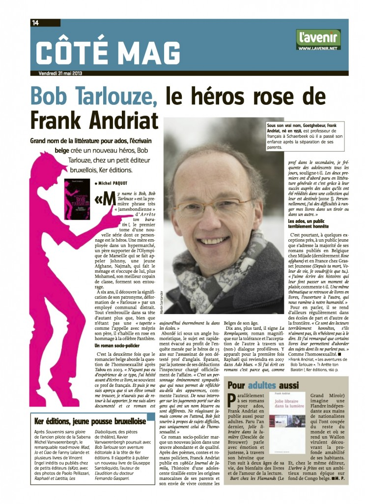 L'Avenir 31 mai 2013 Franck Andriat